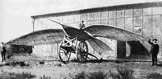 """Jean-Marie Le Bris manned glider, """"The Artificial Albatross"""",  reached a height of 100 metres pulled by a horse in 1856"""