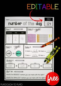 An awesome way to work on number recognition, number formation, place value and more with FREE number sheets! #freemathprintables #freeprintables #playdoughtoplato #freemathcenters
