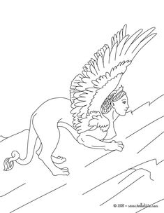 Kleurplaat SPHINX The Monstruous Woman Headed Lion Of Greek Mythology Coloring Page
