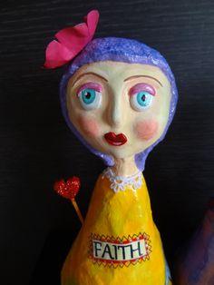 Faith - Paper mache doll