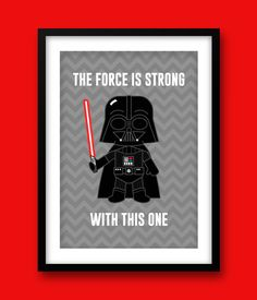 Fun Star Wars Darth Vader Print. This fun print would make a great addition to any kids bedroom or any bedroom for that matter! This cute features