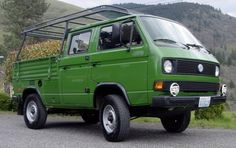 1990 Volkswagen DOKA Double Cab Transporter Syncro 16 4x4 Truck For Sale Green Adventure Vehicle For Sale Front