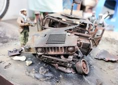 scale    :1:35 Author  : Yhanuar Ardhi Wiedanto at MRC/Academy Contest 2013 Model Kit 13241 M1025 Armored Carrier 1/35 scale. Taliban figures ( 2 from ICM and 1 scratch built). Weathering effect like burned Hummer, with oil paints, spray paints, and chipping effect.