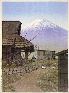 Fuji at Funatsu, Yamanashi by Kawase Hasui, 1936 (published by Watanabe Shozaburo) Monte Fuji, Japanese Woodcut, Japanese Landscape, Art Japonais, Yamanashi, Japanese Painting, Art Graphique, Japanese Prints, Japan Art