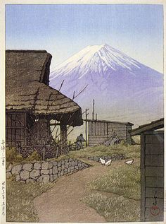 Mt. Fuji at Funatsu, Yamanashi  by Kawase Hasui, 1936  (published by Watanabe Shozaburo)