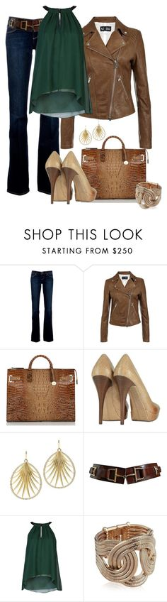 """Brown Leather Jacket"" by averbeek ❤ liked on Polyvore featuring Paige Denim, Armani Jeans, Brahmin, Michael Kors, Tiffany & Co., CÉLINE, Elizabeth and James and Lara Bohinc"