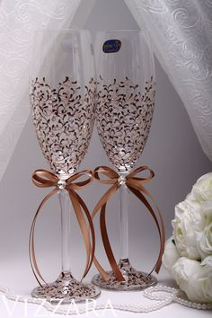 toasting flutes Brown Wedding Champagne Flutes Personalized