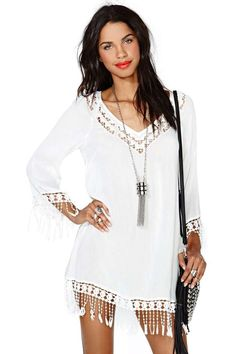 Fringe Benefits Dress --- Would be great with skinny jeans/leggings or as a swimsuit coverup