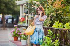 #colorful #print #skirt #stripes #fashion #fashionblogger #fashionista #style #streetstyle #styleblogger #yellow #bag #romantic #girl #inspiration #ootd #loo