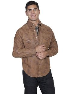 c630b602b31b New Scully Maple Brown Leather Classic Snap Western Frontier Style Shirt  Jacket