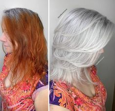 Stylist shows gorgeousness of grey hair instead of covering it up Red Hair To Grey, Lilac Hair, Pastel Hair, Green Hair, Blue Hair, Grey Hair Colors, White Hair, Silver Fox Hair, Grey Hair Transformation