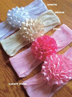 Items similar to baby headband streachy nylon or cotton HB with satin flower on Etsy Stretchy Headbands, Baby Headbands, Satin Flowers, Fabric Flowers, Diy Ribbon, Diy Hair Accessories, Girl Hair Bows, Diy For Girls, Craft Party