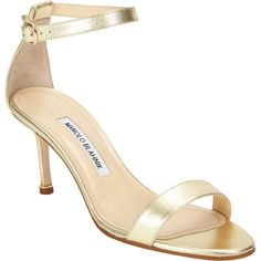 Manolo Blahnik Chaos Ankle-strap Sandal ($725) ❤ liked on Polyvore featuring shoes, sandals, gold, ankle wrap sandals, leather ankle wrap sandals, manolo blahnik sandals, open toe shoes and leather buckle sandals