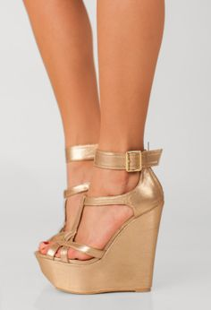 C'est Chic Platform Wedge, Metallic Gold » The day I wear these shoes will most likely be my last day alive. WHOA!