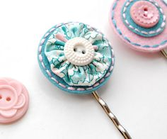 Embroidered Hair Pin Set by SewSweetStitches on Etsy