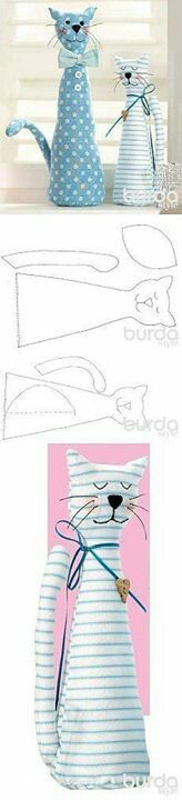 Molde gato Doorstop Pattern, Diy Doorstop, Plush Pattern, Cat Pattern, Mundo Craft, Door Stopper, Animal Crafts, Cat Crafts, Sewing Hacks