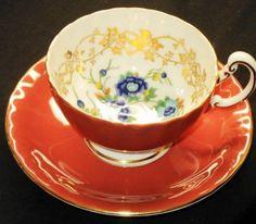 AYNSLEY ART DECO GOLD ORANGE TEA CUP AND SAUCER Cup And Saucer Set, Tea Cup Saucer, Orange Tea Cups, Vintage Tea, Vintage China, Teapot Cookies, Coffee Room, Teapots And Cups, Tea Art