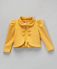 Another great find on #zulily! Maria Elena Goldenrod Yellow Collar Bolero - Toddler & Girls by Maria Elena #zulilyfinds