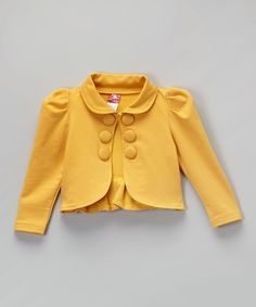 Loving this Goldenrod Yellow Collar Bolero - Toddler & Girls on #zulily! #zulilyfinds