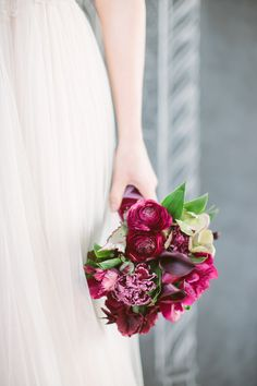 Love a berry-colored #bouquet | Photo: http://allanzepeda.com/blog/ Read more: http://www.stylemepretty.com/2014/08/21/jewel-tone-wedding-moments-to-love/