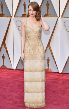 Emma Stone's show-stopping beaded fringe Givenchy gown took 11 people and 1,700 hours to create for the 2017 Academy Awards.