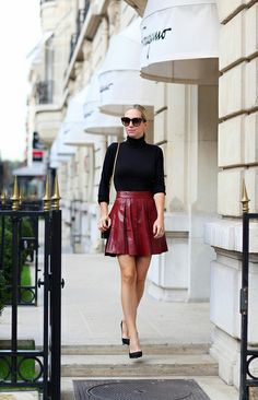 You searched for label/Outfit of the Day Skirt Fashion, Fashion Outfits, Brooklyn Blonde, Burgundy Skirt, Fashion Portfolio, Casual Fall, Leather Fashion, Minimalist Fashion, Outfit Of The Day