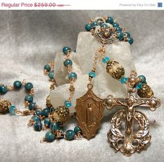 SALE Blue Apatite Bronze Unbreakable Wire Wrap Custom Rosary by HeartFelt Rosaries