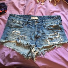 Hollister high waisted shorts Excellent condition! Bought distressed but out grew them! Size 11! Price is negotiable Hollister Shorts Jean Shorts