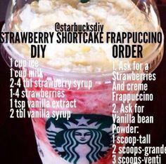 How to Make Homemade Starbucks Frappuccinos Strawberr. How to Make Homemade Starbucks Frappuccinos Strawberry Shortcake Frap Starbucks Frappuccino, Vanilla Frappuccino, Cotton Candy Frappuccino, Starbucks Hacks, Starbucks Secret Menu Items, Starbucks Secret Menu Drinks, Special Starbucks Drinks, Keto Coffee Recipe, Sweets