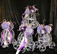 Cinderella carriages for centerpieces for a wedding reception, Bridal shower,a baby shower or Birthday party Cinderella Sweet 16, Cinderella Theme, Cinderella Birthday, Cinderella Wedding, Princess Carriage, Cinderella Carriage, Trendy Wedding, Our Wedding, Dream Wedding
