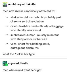"""nonbinarywithaknife: """"men nott is/was canonically attracted to: Critical Role Characters, Critical Role Fan Art, Critical Role Campaign 2, Good Meaning, Audio Drama, I Want To Cry, Voice Actor, The Last Airbender, Text Posts"""