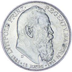 Bayern, Luitpold 1886 - 1912 2 Mark 1911 D Silber, zum 90. Geburtstag
