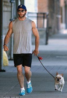 Hugh Jackman with his French Bulldog Peaches