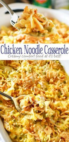 Easy family dinner ideas like Chicken Noodle Casserole are a great way to have comfort food fast. Amazing chicken recipes like this are always a favorite! I love how quick & easy this dinner is & how much my family loves it. Don't miss my tip for making this in bulk as a freezer meal too. on kleinworthco.com #chickennoodle #casserole #dinnerrecipes #easyrecipes #creamychicken #eggnoodlerecipes #frenchonions #easycasserolerecipes