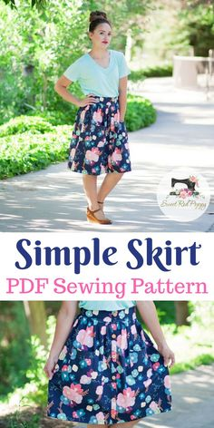 Simple Skirt Beginner Friendly PDF Sewing Pattern from Sew Caroline