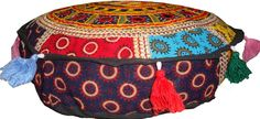 ELEPHANT EMBROIDER MIRROR WORK ROUND POUF CUSHION COVER OTTO FLOOR SEAT TAPESTRY | Home & Garden, Home Décor, Pillows | eBay!
