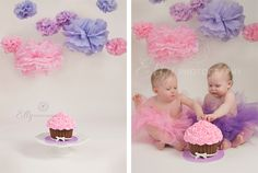 Cake Smash Photo Session. Like the simpleness of the background and the giant cupcake. @Tanya Kummerow
