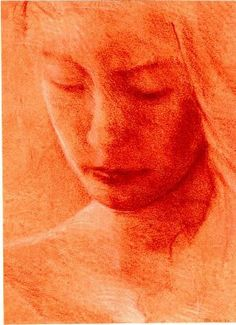 Richard Britell - red conte crayon on prepared paper with white highlights in chalk, 1996