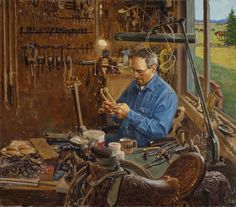"""""""Nate Wald, Rawhide Braider, Lodge Grass, Montanna"""" Western Art by Cowboy Artists of America's Loren Entz Cowboy Art, Cowboy And Cowgirl, Horse Feed, Into The West, Heritage Museum, Painting People, Cool Countries, Western Art, Art Plastique"""