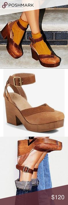 """Free People Walk This Way Clogs Brown Leather w/ Embossed Contrast at Vamp & Straps Woven Ankle Strap w/ Buckle 1"""" Wood Platform 3.75"""" Block Heel Free People Shoes Mules & Clogs"""