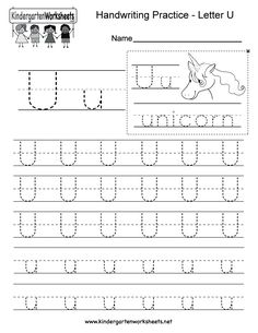 "This is a letter U tracing worksheet. Children can trace uppercase and lowercase letters and the word ""unicorn."" You can download, print, or use it online. English Worksheets For Kindergarten, Reading Worksheets, Kindergarten Writing, Free Printable Alphabet Worksheets, Printable Letters, Handwriting Practice Worksheets, Cursive, School Stuff, Connect"