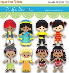 50% Off Printable clipart Clip Art Digital PDF PNG File - Baby Boy Girl Children of the World Pacific Countries - 1