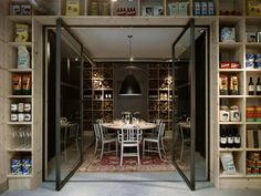 awesome restaurant space. love the way they incorporated product.