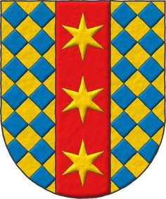 Antrobus, Thomas: Lozengy Or and Azure, on a pale Gules three Estoiles of the first. High Middle Ages, Zinn, Napoleonic Wars, Modern Times, Ex Libris, Floral Border, Coat Of Arms, Badge, Kids Rugs