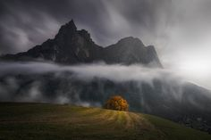 Mountain Long Exposure Clouds Look Like Rain Dolomites Italy [OC][1600x1067]