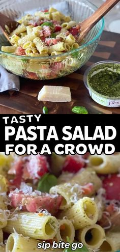 [video] Try this Easy Pesto Pasta Salad with tomatoes, basil, parmesan cheese and rigatoni for a potluck or crowd event. It's an easy pasta salad to make ahead. | sipbitego.com #sipbitego #pastasalad #makeahead #Italian #salad #sidedish #pasta #appetizer #tomatoes #rigatoni #pastadish #dinner #video #recipevideo Basil Pesto Pasta, Pesto Pasta Salad, Easy Pasta Salad, Tomato Pesto, Pasta Salad Italian, Make Ahead Salads, Salads For A Crowd, Recipe Videos, Food Videos