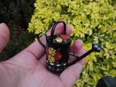 Bargeware, Miniature, Watering Can, Model, Hand Painted, Barge Ware, Barge, Gypsy, Caravan, Red, Yellow, Roses, Ornament, Gift, Vintage by DecadentAndFabulous on Etsy