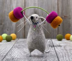 Needle felted mouse lifting weights, Felting, Gift, Grey mouse, Happy Birthday, Kids room decor, Animals, Wool Rat, Fiber art,NeighborKitty