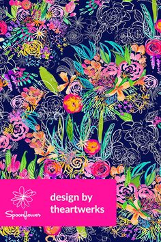 Neon night garden by theartwerks - hand painted floral pattern in neon and navy on fabric Pattern Wallpaper, Fabric Wallpaper, Neon Flowers, Phone Background Patterns, Neon Nights, Night Garden, Neon Colors, Watercolor Flowers, Spoonflower