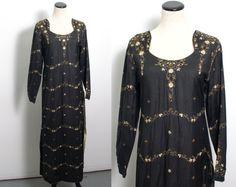 VTG 70's Sheer Black Kaftan (Medium) Tunic Maxi Dress Caftan Delicate Floral Embroidery Gold Sequins Long Sleeves Hippie Boho Vintage Caftan Vintage Kaftan